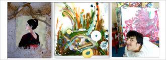 Drei Bilder nebeneinander im Querformat: Links das Gemälde einer asiatischen anmutenden Frau im Profil von Künstlerin Christa Ensel, in der Mitte ein Werk von Jitka Ratzlaff mit expressiven, mehrfarbigen groben Pinselstrichen, rechts Künstler Oscar Streit vor zwei seiner großformatigen, bunten Gemälden