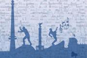 Illustration der Skyline von Berlin auf der Musiker tanzen.